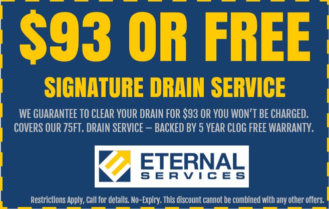 Discount on plumbing service: $93 Drain Service - We clear your drain for $93 or it's FREE in Las Vegas, Nevada.