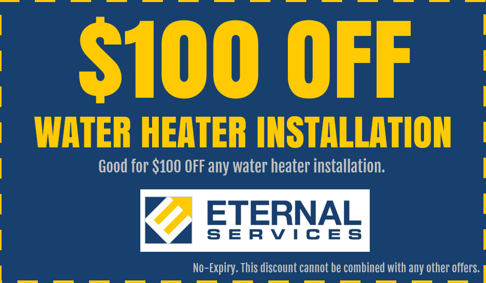 Discount on plumbing service: $100 OFF Water Heater Installation in Las Vegas, Nevada.